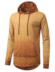 CARAMEL Oil Washed Long Sleeve Hoodie Sweatshirts - URBANCREWS
