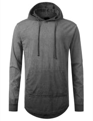 GRAY Oil Washed Long Sleeve Hoodie Sweatshirts - URBANCREWS