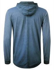 NAVY Oil Washed Long Sleeve Hoodie Sweatshirts - URBANCREWS