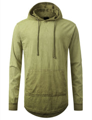 OLIVE Oil Washed Long Sleeve Hoodie Sweatshirts - URBANCREWS