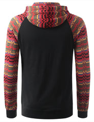BLACK Long Sleeve Henley Hoodie Sweatshirts - URBANCREWS