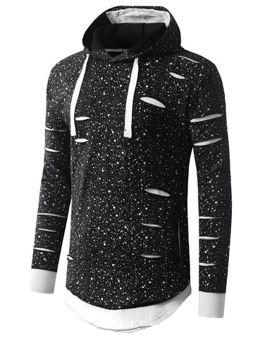 Ripped Splatter Long Sleeve Hoodie Sweatshirts