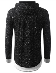 BLACK Ripped Splatter Long Sleeve Hoodie Sweatshirts - URBANCREWS
