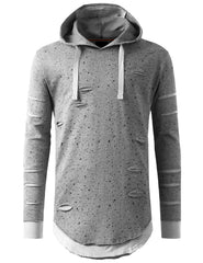 GRAY Ripped Splatter Long Sleeve Hoodie Sweatshirts - URBANCREWS
