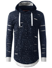 NAVY Ripped Splatter Long Sleeve Hoodie Sweatshirts - URBANCREWS