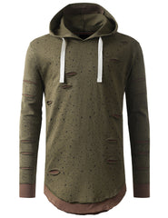 OLIVE Ripped Splatter Long Sleeve Hoodie Sweatshirts - URBANCREWS