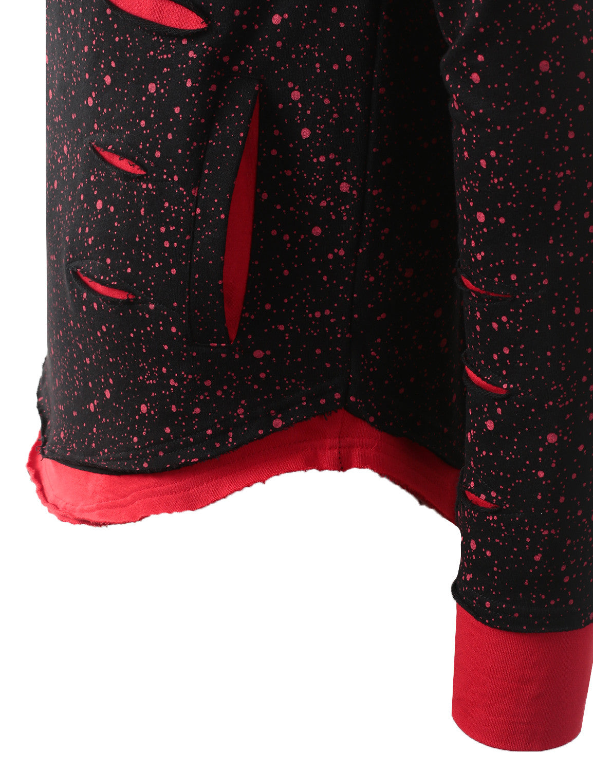 RED Ripped Splatter Long Sleeve Hoodie Sweatshirts - URBANCREWS