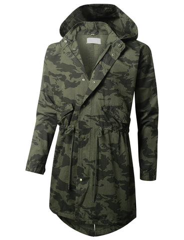Camo Hooded Long Military Jacket