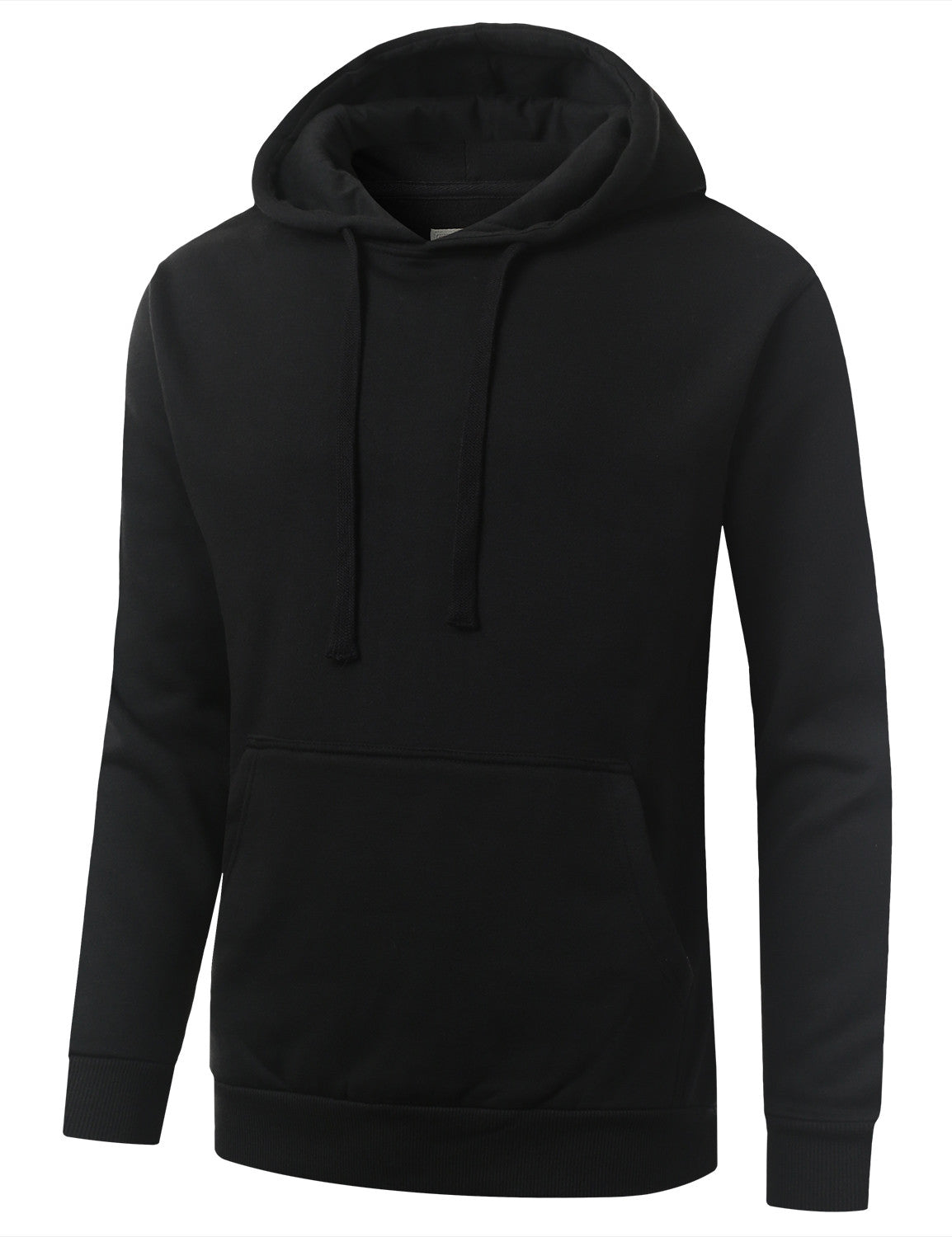 BLACK Basic Long Sleeve Pullover Hoodie Sweatshirt - URBANCREWS