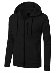 BLACK Fleece Full Zip Up Hoodie Jacket  -URBANCREWS
