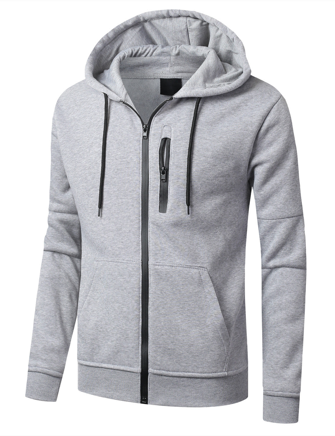 HGRAY Fleece Full Zip Up Hoodie Jacket  - URBANCREWS