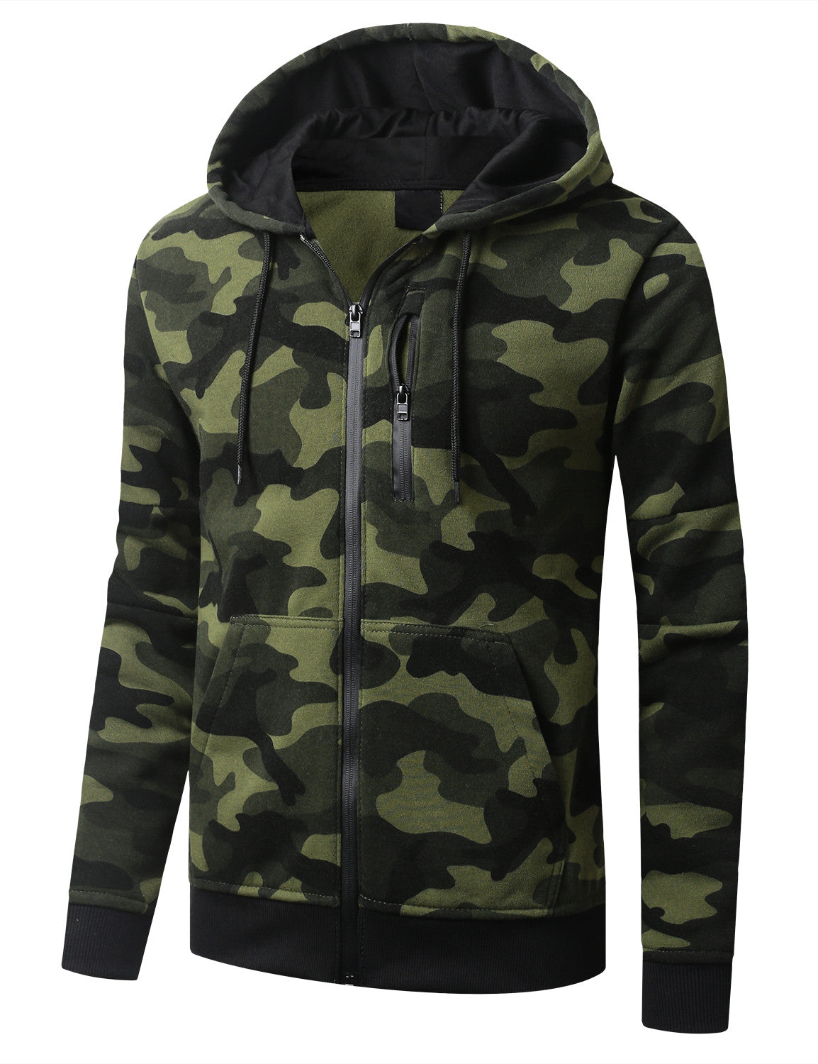 WOODLAND Fleece Full Zip Up Hoodie Jacket  - URBANCREWS