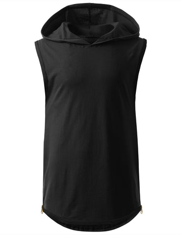 Sleeveless Hoodie w/ Side Zippers