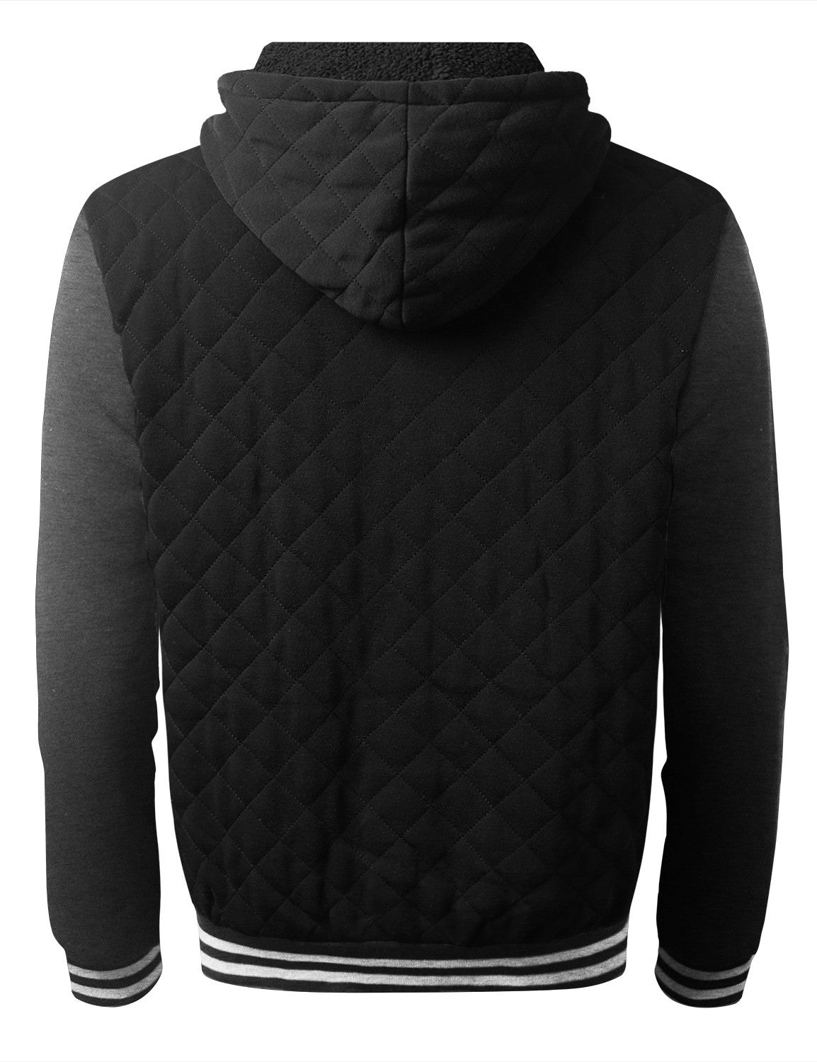 BLACKHCHARCOAL Quilted Baseball Hoodie Jacket - URBANCREWS