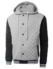 HGRAYBLACK Quilted Baseball Hoodie Jacket - URBANCREWS