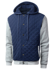 NAVYHGRAY Quilted Baseball Hoodie Jacket - URBANCREWS