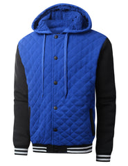 ROYALBLACK Quilted Baseball Hoodie Jacket - URBANCREWS