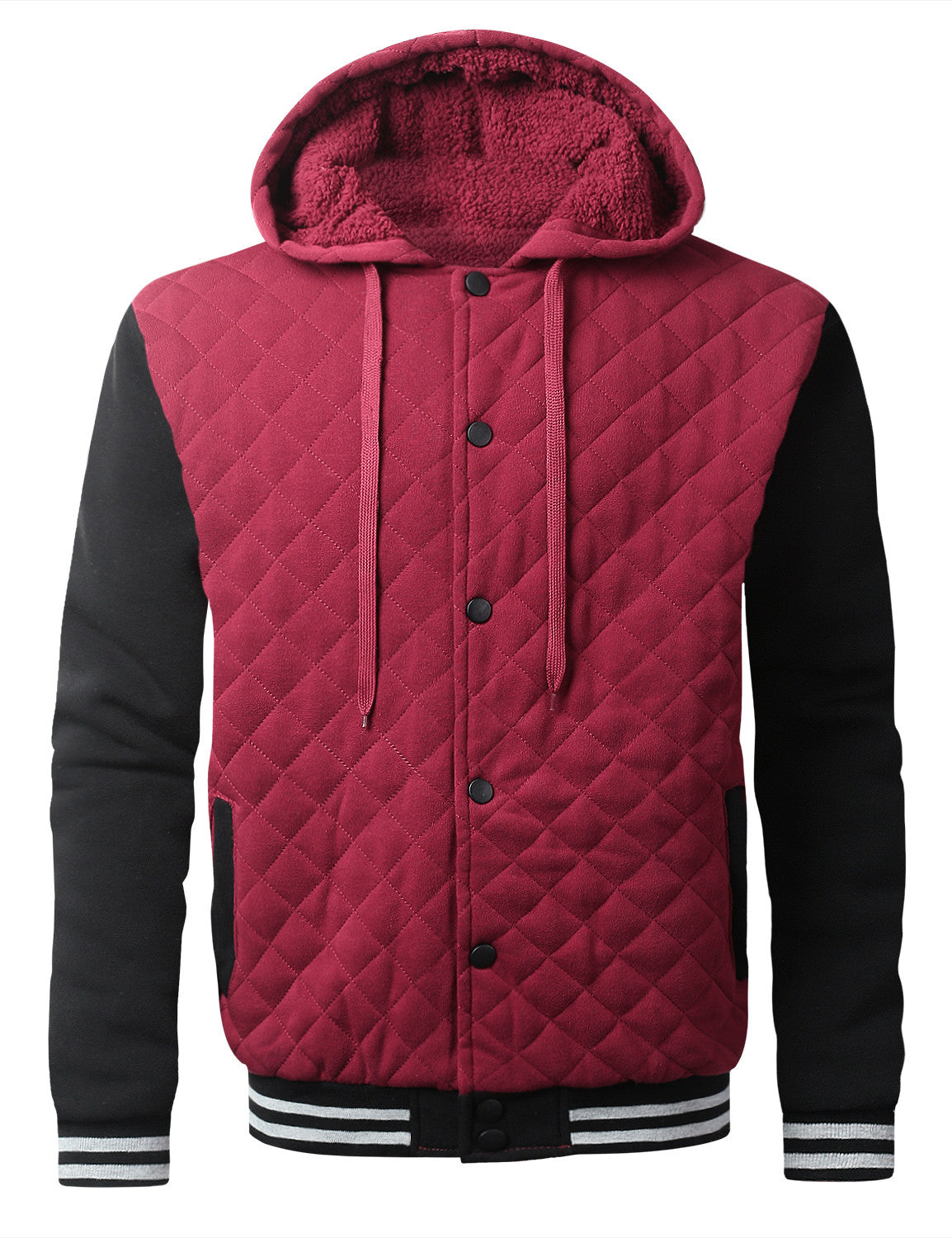 WINEBLACK Quilted Baseball Hoodie Jacket - URBANCREWS