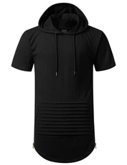 BLACK Short Sleeve Hoodie w/ Zippers - URBANCREWS