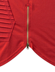RED Short Sleeve Hoodie w/ Zippers - URBANCREWS
