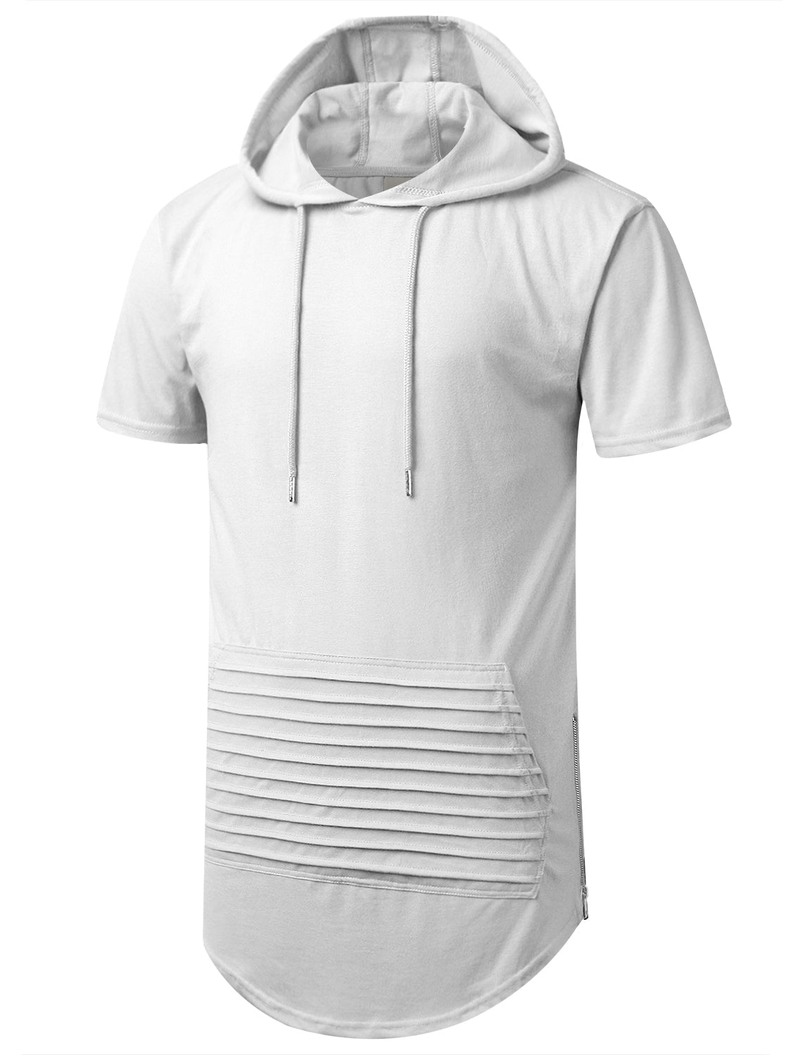 WHITE Short Sleeve Hoodie w/ Zippers - URBANCREWS