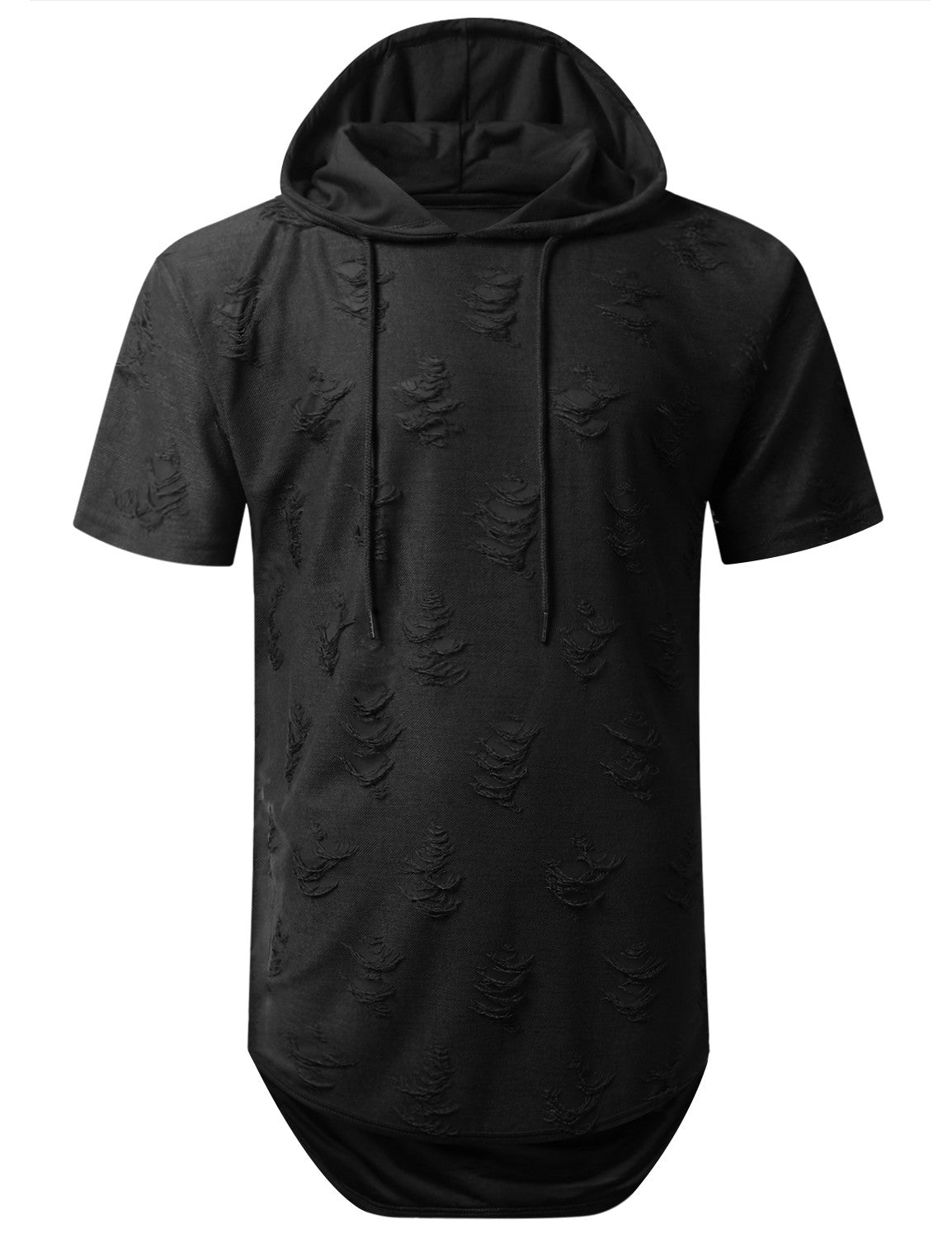 BLACK Ripped Lightweight Short Sleeve Hoodie - URBANCREWS