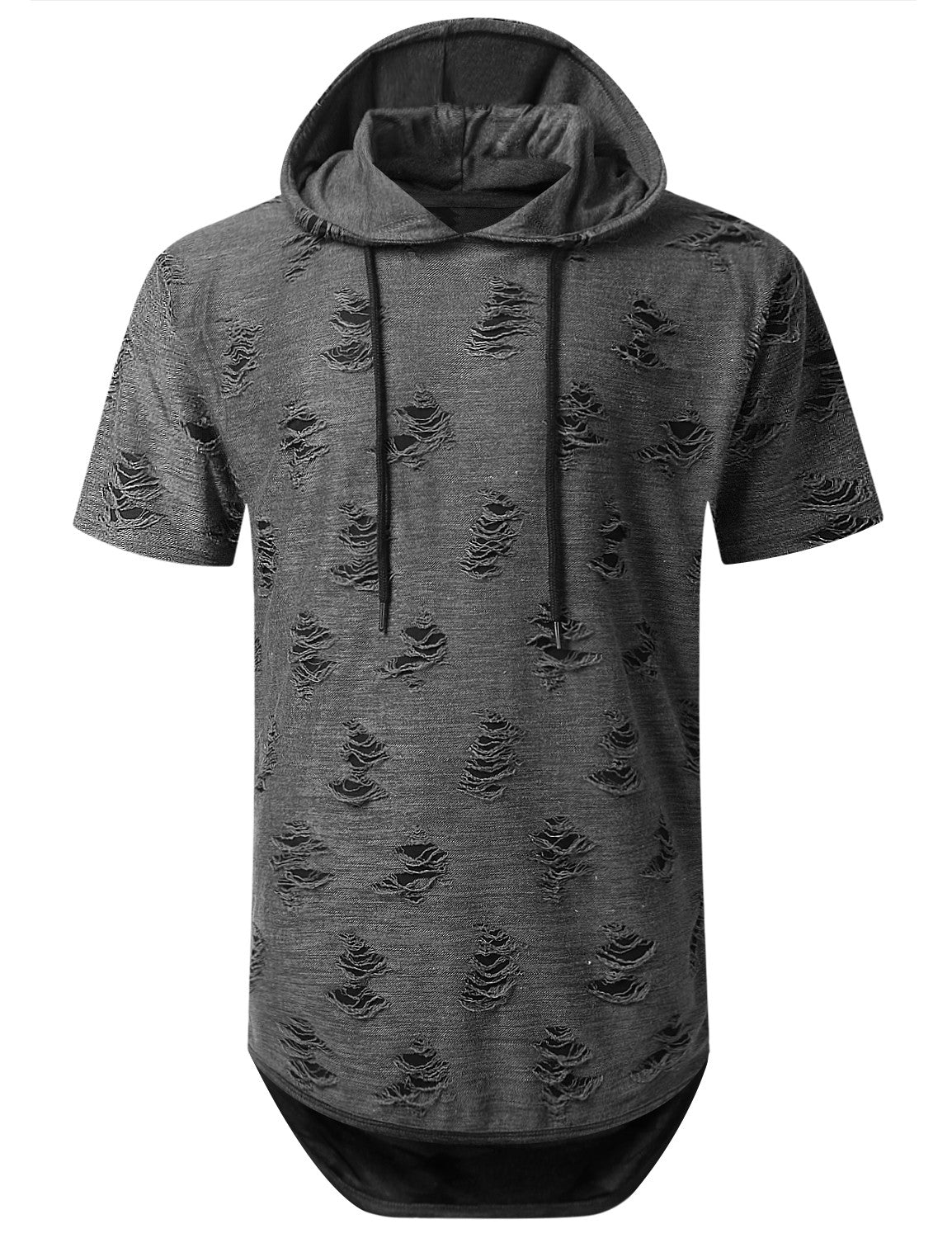 GRAY Ripped Lightweight Short Sleeve Hoodie - URBANCREWS