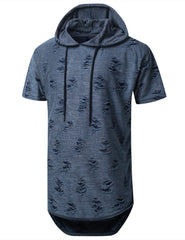 NAVY Ripped Lightweight Short Sleeve Hoodie - URBANCREWS