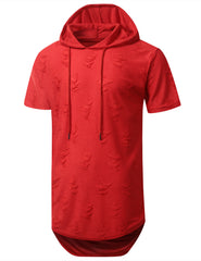 RED Ripped Lightweight Short Sleeve Hoodie - URBANCREWS