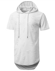 WHITE Ripped Lightweight Short Sleeve Hoodie - URBANCREWS