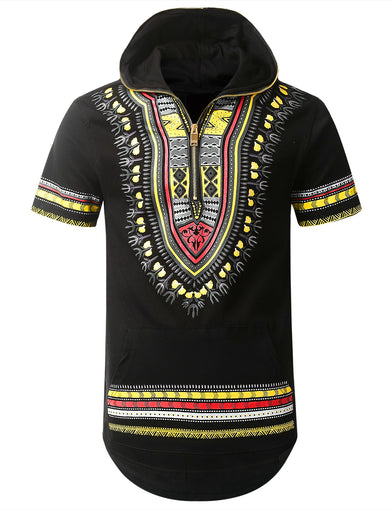Dashiki Half Zip Up Hoodie Shirt