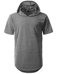 BLACK Melange Pocket Short Sleeve Hoodie - URBANCREWS