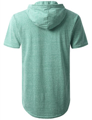 JADE Melange Pocket Short Sleeve Hoodie - URBANCREWS