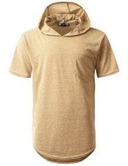 KHAKI Melange Pocket Short Sleeve Hoodie - URBANCREWS