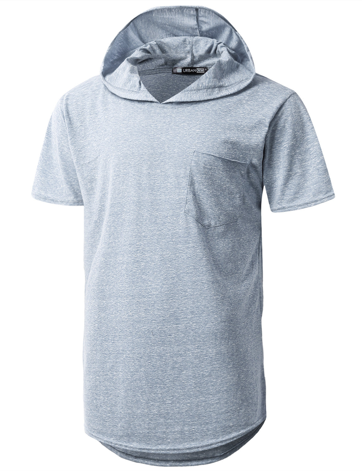 LTBLUE Melange Pocket Short Sleeve Hoodie - URBANCREWS