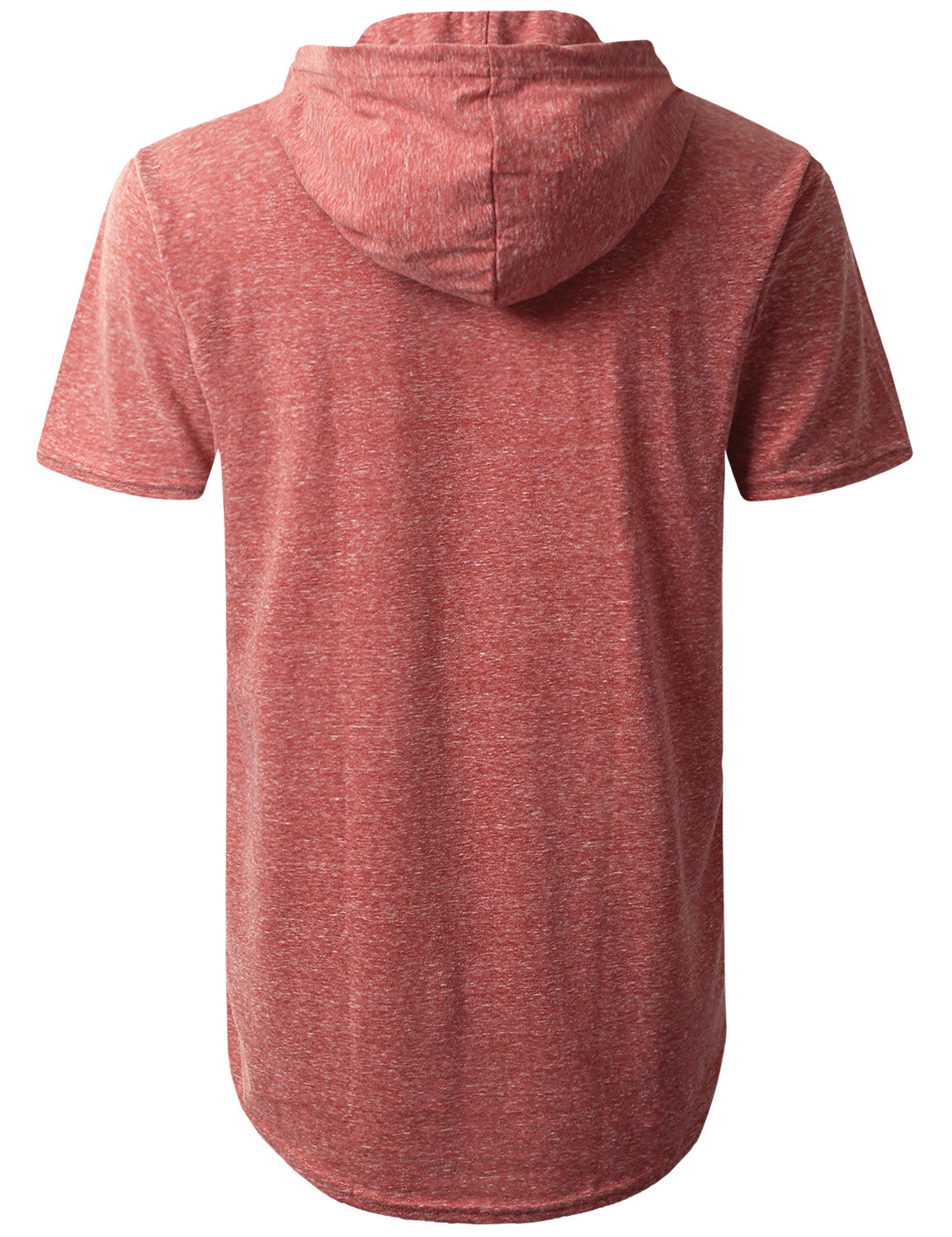 LTBURGUNDY Melange Pocket Short Sleeve Hoodie - URBANCREWS