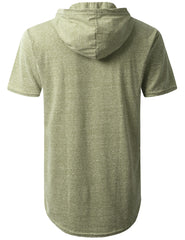 OLIVE Melange Pocket Short Sleeve Hoodie - URBANCREWS