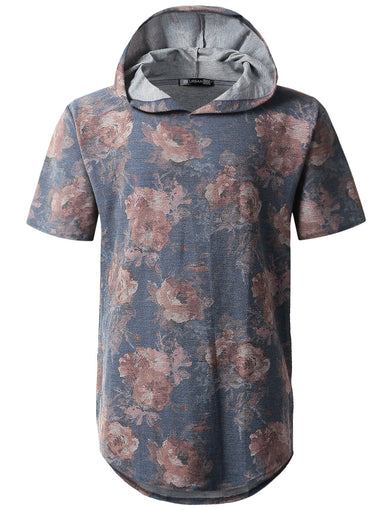 Floral French Terry Short Sleeve Hoodie