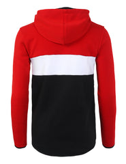 RED Colorblock Fleece Anorak Hoodie - URBANCREWS