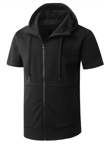 Zip Up Short Sleeve Hoodie Shirt