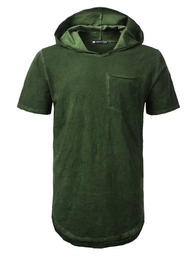 Washed Oil Short Sleeve Hoodie