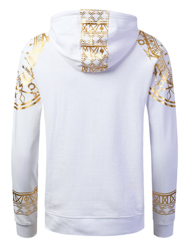 Crown Gold Foil Print Pullover Hoodie