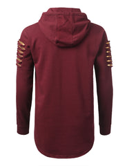 BURGUNDY Razor Slashed Fleece Hoodie - URBANCREWS