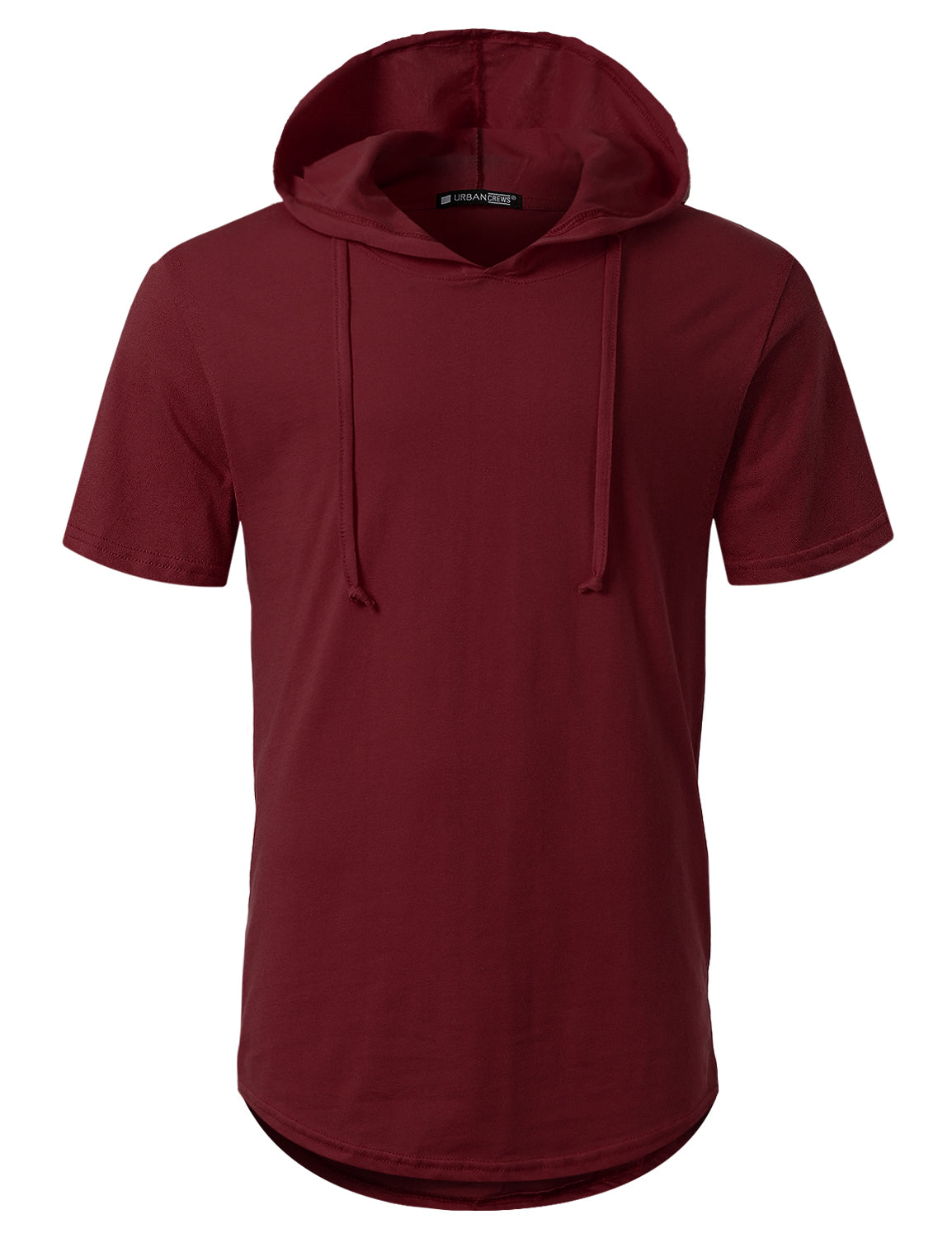 BURGUNDY Short Sleeve Pullover Hoodie Shirt - URBANCREWS