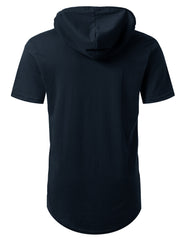 NAVY Short Sleeve Pullover Hoodie Shirt - URBANCREWS