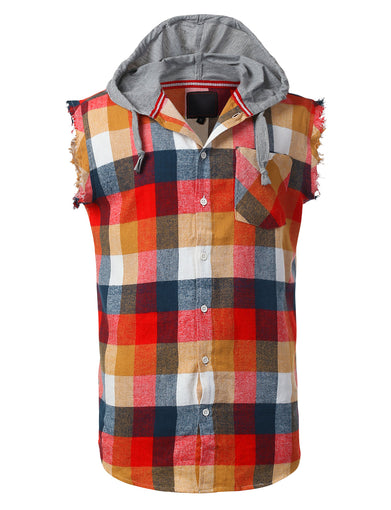 Colorful Flannel Plaid Hoodie Shirt Vest