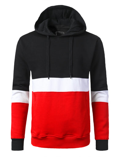 Retro Color Block Pullover Hoodie