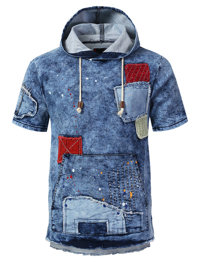 Patched Denim Short Sleeve Hoodie