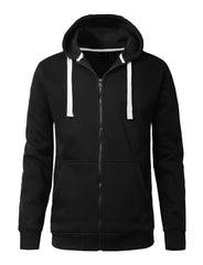 BLACK Lightweight Zip Up Fleece Hoodie - URBANCREWS