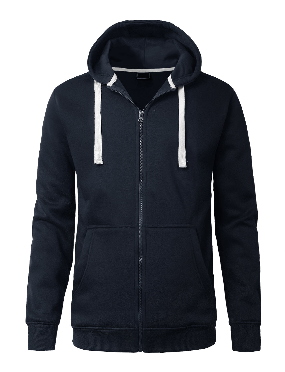 NAVY Lightweight Zip Up Fleece Hoodie - URBANCREWS